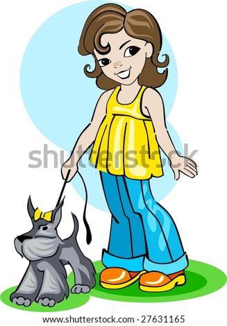 a girl take a walk with a dog