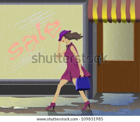 A girl walks past a store. Drips heavy rain. - stock vector