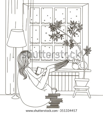 Girl book bag sitting chair looking stock vector 351334457 a girl with a book bag sitting in a chair and looking out the window thecheapjerseys Image collections