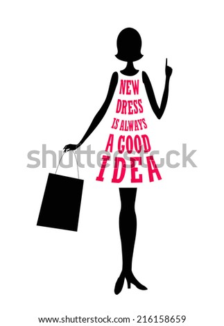 """A girl with shopping bag and a dress made of words: """"New dress is always a good idea"""". - stock vector"""