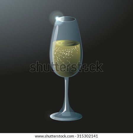 A glass of champagne on a dark background