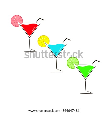 A glass of cocktail vector illustration on white background