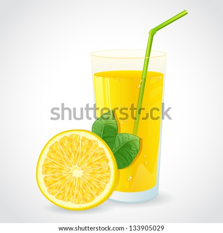 Cartoon Juice Glass a Glass of Fresh Lemon Juice