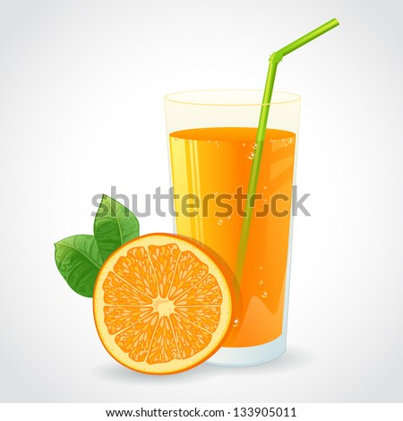 A glass of fresh orange juice and half of ripe orange with leaf isolated on white