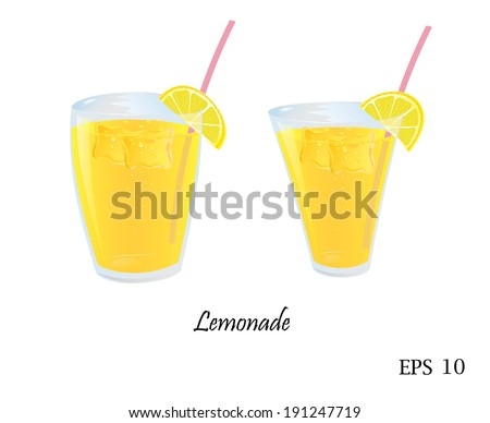 A glass of lemonade with ice and straw - stock vector