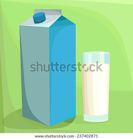 A glass of milk with a blue pack