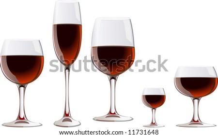 a glass of red wine - stock vector