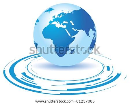 a globe on a broken blue background - stock vector