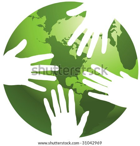 A globe with hands around it, in vector format - stock vector