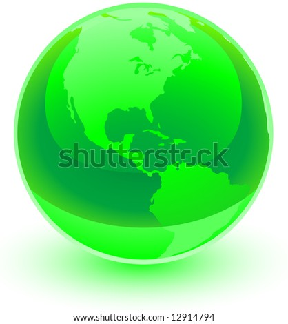 A glossy green sphere with an etching of the America's on it. Great professional icon representing the earth.
