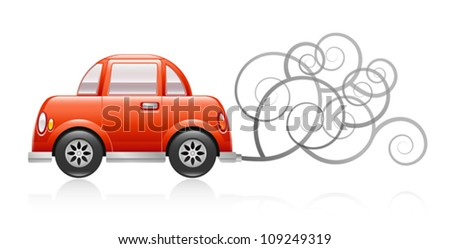 A glossy illustration depicting a red car spewing out pollution. Eps 10 Vector. - stock vector