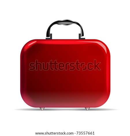 A glossy red suitcase with rounded corners and silvery details - stock vector