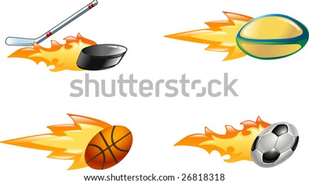 A glossy shiny flaming sport icon set. Rugby ball, ice hockey stick striking puck, basketball ball and soccer or football ball zooming through the air with flames and fire zooming out the back - stock vector