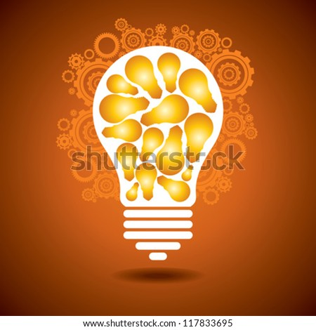 a glowing light bulb, and gears. the concept of making big idea - stock vector
