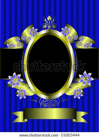 a gold floral frame on a classic blue striped  background with room for text - stock vector