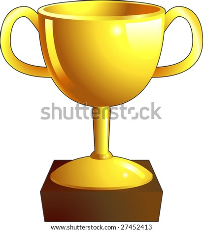 A gold shiny winners trophy illustration icon - stock vector