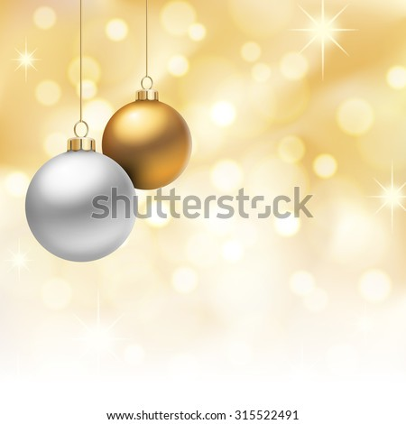 A Golden Christmas background, with gold and silver christmas balls hanging from above. - stock vector