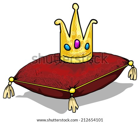 A golden crown places on a red pillow, cushion, vector illustration - stock vector