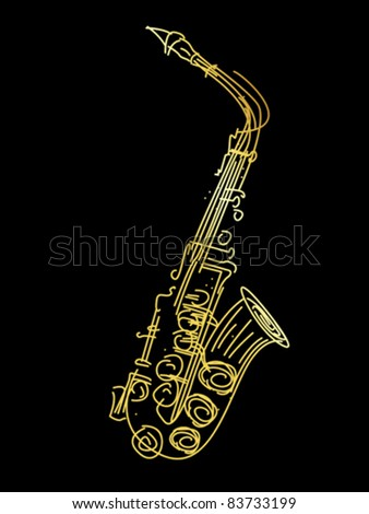 A golden saxophone, stylized hand drawing graphic - stock vector