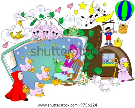 A goose in a story book,reading as many fictional characters look on. - stock vector