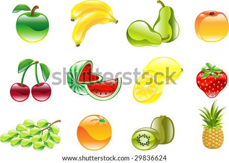 A gorgeous shiny glossy fruit icon set - stock vector