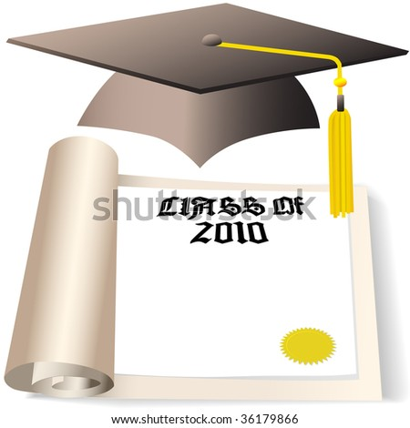 A Graduation Cap and Diploma with copyspace for the graduating Class of 2010. - stock vector