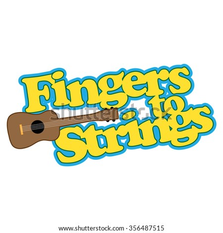A graphic about playing a ukulele or any stringed instrument - stock vector