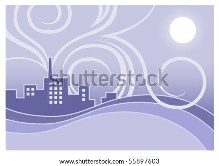 A graphic or background depicting a factory releasing exhaust into the atmosphere. - stock vector