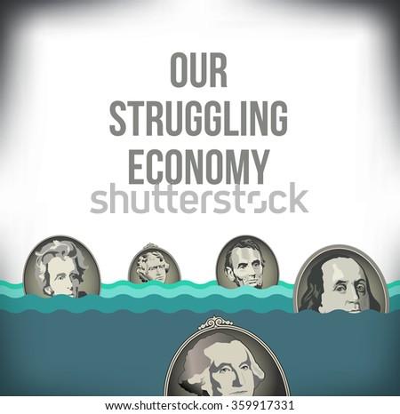 A graphic representation of the recession - stock vector