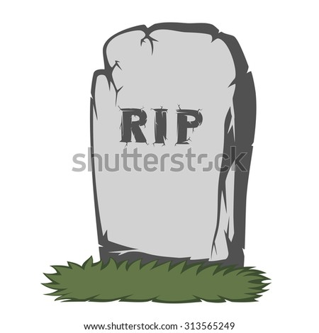A gray gravestone with grass and RIP text - stock vector