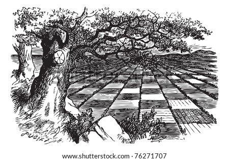 A Great Huge Game of Chess - original book engraving. For some minutes Alice stood without speaking, looking out in all directions over the country?and a most curious country it was... - stock vector