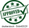 A Green 'Approved' Rubber Stamp Illustration - stock vector