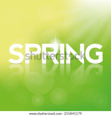 a green background with text and its reflection for spring season