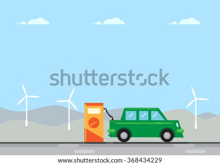A green coloured electric car connected to an electric charging station. An illustration on the rise of electric cars and the effects on the environment.