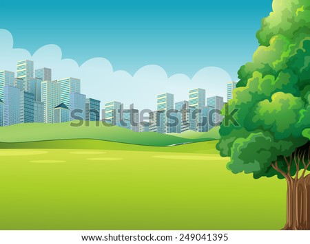 A green landscape across the tall buildings - stock vector