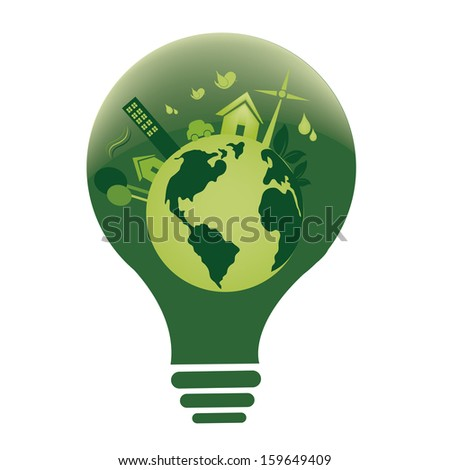 a green lightbulb with our planet inside it