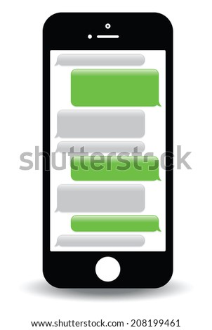 a green mobile phone text messaging screen - stock vector