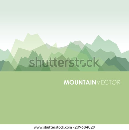 a green overlapping green mountain background image - stock vector