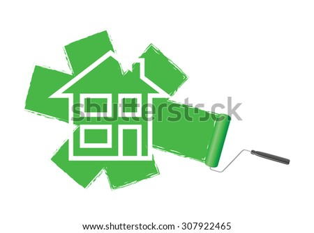 a green paint roller background - stock vector
