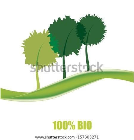 a green wave with three different tress and some text - stock vector