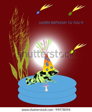 A greeting birthday card with a green frog. Vector illustration. - stock vector