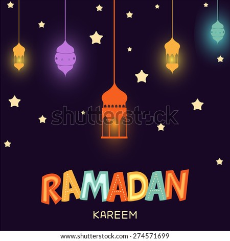 A greeting card template- 'Ramadan Kareem' hanging arabic lamps or lantern. - stock vector