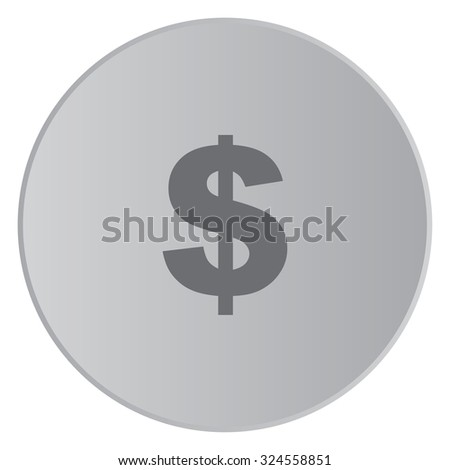 A Grey Icon Isolated on a Button with Grey Background - Dollar