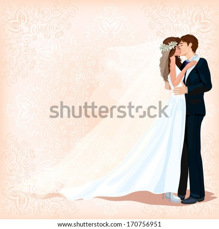 A groom and fiancee kiss each other. Background with tender decorative patterns. Invitation on wedding. Postal. Banner. CMYK - stock vector