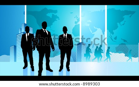A group of adult businessmen with a city life background.