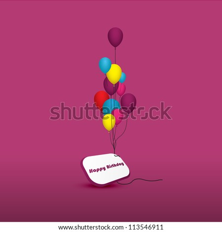 A group of balloons with the words happy birthday hanging from the strings in multi colored shades - stock vector