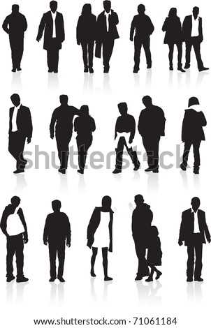 A group of black silhouettes, highly detailed of people in different walking positions - stock vector