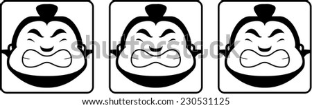 A group of cartoon sumo heads looking angry. - stock vector