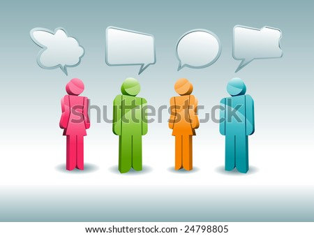 A group of characters is having a discussion. - stock vector