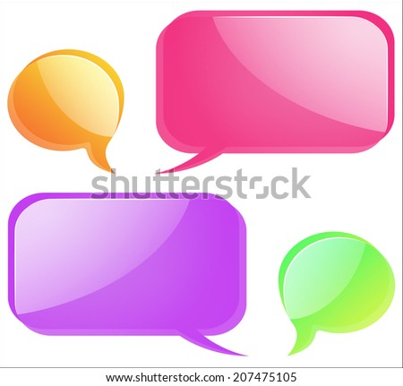 A group of colorful glass shiny bubbles for the text as communication on the forum or the chat.